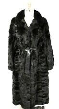 Womens Sheared Mink Fur Black Maxi Coat L XL 1970s Belted Birger Christensen