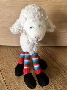 Russ Berrie Lamb Sheep Striped Legs Posable Soft Plush Toy . Excellent