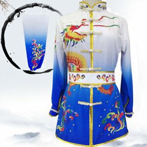 Gradient Martial Arts Uniform Kung Fu Tai Chi Suit Changquan Set Dragon Pattern