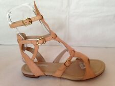 Faryl Robin Anthropologie flat gladiator sandals 10 beige leather thong 3 buckle