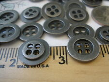 4-hole Metal shirt buttons Antique silver pewter color 28L 17.5MM 24 pcs 11/16""