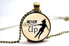 Never Grow Up Peter Pan Quote Jewelry, Peter Pan Necklace Peter Pan art pendant