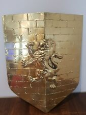 More details for vintage medieval gold color lion rampant heater shield warrior collectibles