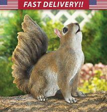 Bushy Tail Squirrel Statue - outdoor yard garden porch lawn art decor figurine