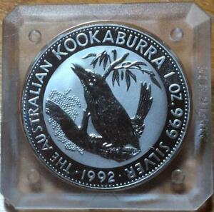 1992 $1 KOOKABURRA SILVER 1 oz BULLION COIN in ORIGINAL SQUARE CASE.