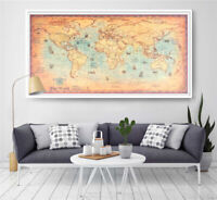 Vintage World Map Retro Paper Nautical Chart Ocean Painting Home Wall Posters