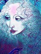 RARE Snow Girl Leonardi da Vinci Inspired Orig Design 9.25 x 12 Metal Art Print