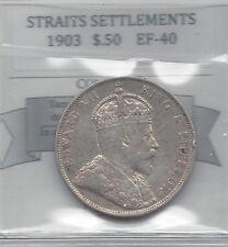 **1903** Straits Settlement, 50 Cent, Coin Mart Graded**EF-40**