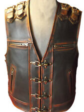 Men's Real Cow Leather Bikers Vest Stone Washed Hand Made Bikers Vest