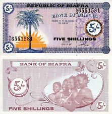 Biafra 5 Shillings Banknote World Paper Money aUnc Grade Currency Pick p1 1967