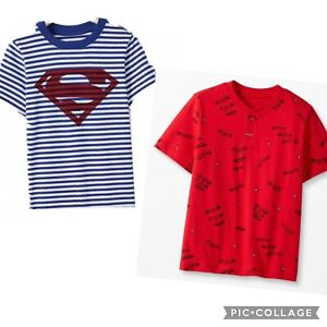 2- Boy's HANNA ANDERSSON DC Superman Striped Shirt 130 8 NWT Red Car Tee SS