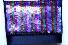 LA REGALE purse handbag shoulder strap multi-color sequin front beads prom party