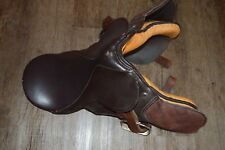 """18.5"""" No Horn Trail Horse English Jumping Saddle Vintage Brown"""
