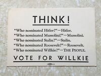 1940's WW2 Card Vote Willkie  Who nominated Hitler Stalin Mussolini Mint