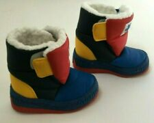Vintage 90s Childs Unisex Snow Boots Size 5 Blue Yellow Red Color Block Puffy