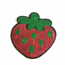 Sequin strawberry iron on patch berry fruit embroidery transfer iron-on patches
