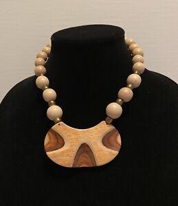 "Parklane Wooden Brass Graduated Beads Large 3-1/4 "" Pendant   # 597"