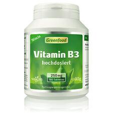 Greenfood Vitamin B3 (Niacin), 250mg, hochdosiert, 180 Tabletten - vegan