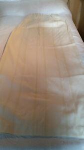 "2 Lemon Stripped + Floral Embossing & Pencil Pleat Curtains 55"" D X 92"" W ea 283"