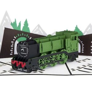 Steam Train Pop Up Card - Flying Scotsman Birthday Card, Train Gifts for Men,...