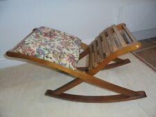 Vintage French rocking gout stool, floral padded seat, slatted back