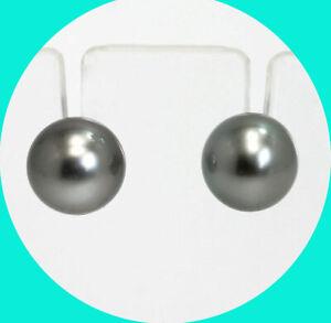 Grey pearl stud earrings 14K yellow gold 10MM round genuine saltwater studs 3.1G