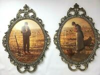 "2 VINTAGE Brass Farmer Praying Ornate Oval Picture Frame Convex Glass 17"" X 12"""