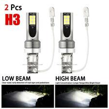 Pair Combo LED Mini H3 Headlight Kit High Low Beam 120W 30000LM 6000K FOG BulbS