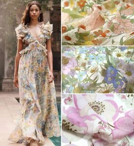 By Yard Floral Dress Fabric Natural Georgette Chiffon Silk Cotton Material