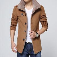 Men's Warm Winter Jacket Coat Fleece Parka Trench Collar Slim Overcoat Outwear