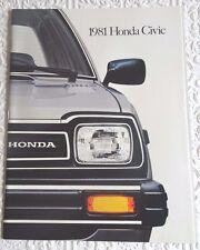 Vintage Original Auto Dealer Advertising Sales Brochure 1981 HONDA CIVIC Car