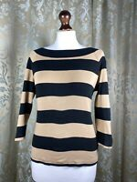 Chaps by Ralph Lauren Women's Brown/black Striped Long Sleeve Top Size M