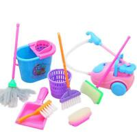 9pcs/set  Kids Play Pretend Toy Cleaning Mop House Brush Dustpan Broom Bucket