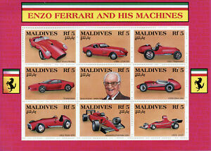 Maldives Cars Stamps 1991 MNH Enzo Ferrari & His Machines Testarossa 9v M/S