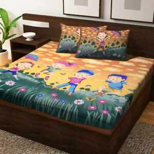 Kids room bad cover Cotton Mandala cartoon bed sheet with pillowcase floral shee