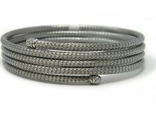 John Hardy Classic Chain Coil Bracelet With Diamond Tips Sterling Silver NWT