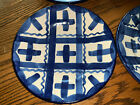 JOHN B TAYLOR CERAMICS LOUISVILLE STONEWARE 4 LUNCHEON PLATES BLUE PLAID PATTERN