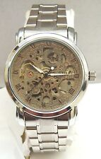 Skeleton Movement Watch With Stainless Steel Case Back & Water Resistant