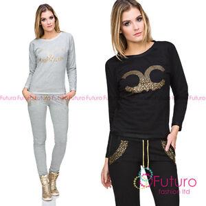 Ladies Shiny Loungewear Crew Neck Sweatshirt Pants Casual Tracksuit FZ116