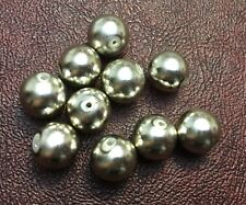 Vintage Japan Silver Mirror Coated Lucite Metallic Round Classic Round Bead Lot