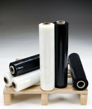 More details for 6 x strong rolls black/clear pallet stretch shrink wrap cast packing cling film