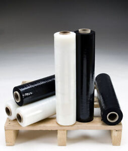 6 x STRONG ROLLS BLACK/CLEAR PALLET STRETCH SHRINK WRAP CAST PACKING CLING FILM