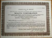 'Willys Corporation' 1921 Stock Deposit Certificate - Car/Automobile/Automotive