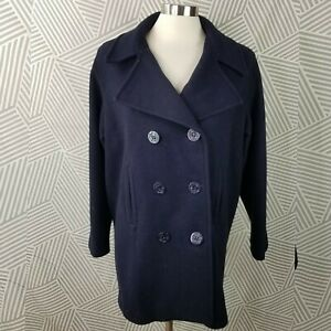 Vtg Herman Kay Size 8 Wool Coat Jacket Button Up Long Winter Professional Navy
