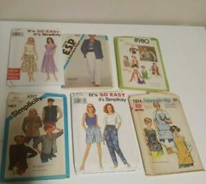 Vintage Simplicity Sewing Patterns Cut Damaged Old Packs Women Dress Pattern LOT