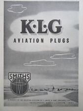6/1946 PUB SMITHS & SONS KLG AVIATION PLUGS AIRCRAFT AVION ORIGINAL AD
