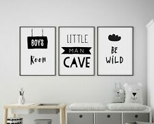 Set of 3 Little Man Cave Be Wild Kids Room Nursery Wall Art Prints Black & White