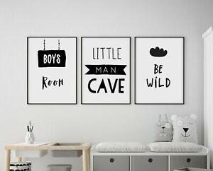Set of 3 Little Man Cave Be Wild Kids Room Nursery Wall Art Prints Black & White