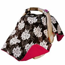 Carseat Canopy Baby Carseat Cotton Blanket Cover w/ Attachment Straps - LOVELY