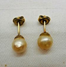 "Antike Damen Gold Ohrringe Ohrstecker ""Perle"" 14 Karat"